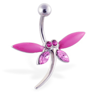 Large pink jeweled dragonfly belly ring
