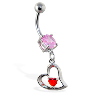 Navel ring with dangling red jeweled heart