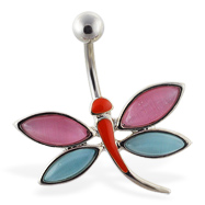 Colorful dragonfly belly ring