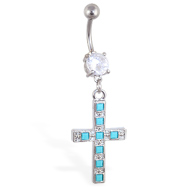 Jeweled belly ring with dangling big cross