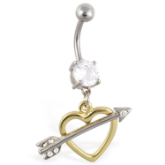 Belly ring with dangling gold colored heart with arrow
