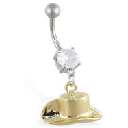 Belly ring with dangling gold colored cowboy hat