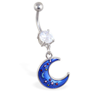 Belly ring with dangling moon with stars