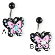 Jeweled pink and black butterfly belly ring