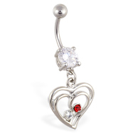 Navel ring with dangling double hearts with gems