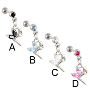 Straight barbell with dangling jeweled fairy