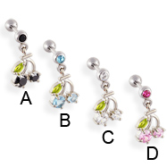 Straight barbell with dangling jeweled cherries