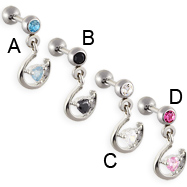Straight barbell with dangling horseshoe and jeweled heart