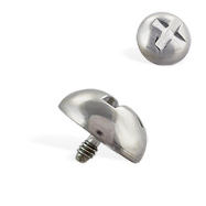 "Titanium internally threaded dermal top ""screw"" ball, 16 ga"