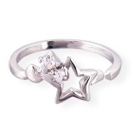 .925 sterling silver toe ring with hollow star and gems