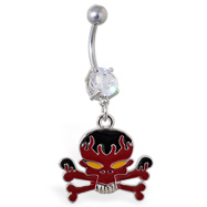 Navel ring with dangling flame skull and crossbones