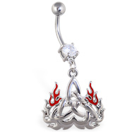 Navel ring with dangling flaming celtic triangle