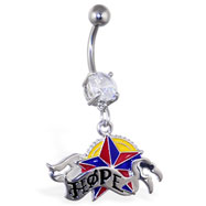"Navel ring with dangling nautical star and ""HOPE"""
