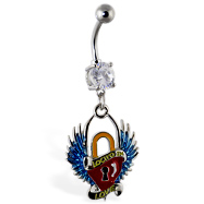 Navel ring with dangling heart lock with wings