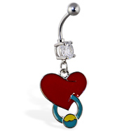 Navel ring with dangling pierced heart
