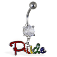 "Navel ring with dangling rainbow ""Pride"""