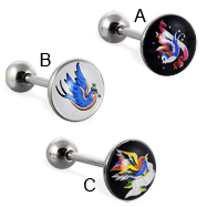 Bird logo tongue ring, 14 ga