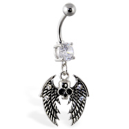 Navel ring with dangling skull with wings
