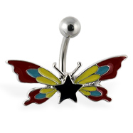 Butterfly navel ring with star and multi-color wings