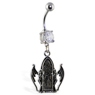 Navel ring with dangling door and demons