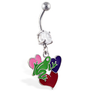 Navel ring with dangling frog on multi-color hearts