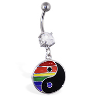 Navel ring with dangling rainbow ying-yang