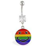 Navel ring with dangling rainbow smiley face