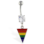 Navel ring with dangling rainbow triangle