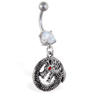 Navel ring with dangling circle dragon with red gem eye