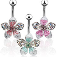 Tropical jeweled flower navel ring