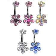 Double jeweled flower belly ring