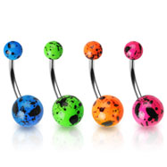 Splat style fluorescent ball belly ring