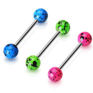 Splat style fluorescent ball tongue ring, 14 ga
