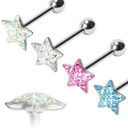Multi-gemmed epoxy dome star tongue ring, 14 ga