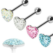 Multi-gemmed epoxy dome heart tongue ring, 14 ga