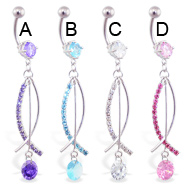 Belly ring with long jeweled dangles