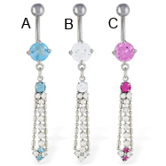 Belly ring with dangling jeweled chain and square