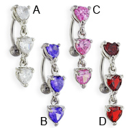 Reversed belly ring with dangling jeweled hearts