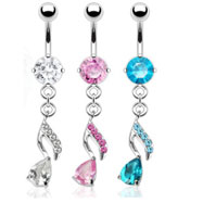 Belly ring with jeweled teardrop on jeweled dangle