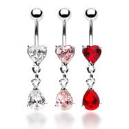 Belly ring with jeweled heart and dangling jeweled teardrop