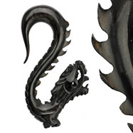 Hand carved buffalo horn black dragon taper