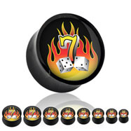 Black acrylic saddle plug with flaming lucky 7