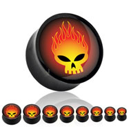 Black acrylic flame skull saddle plug