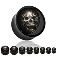 Pair Of Mummy Skull Acrylic Saddle Plugs