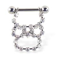 Nipple ring with long dangling jeweled chain, 12 ga or 14 ga