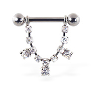 Nipple ring with dangling jeweled chain and gems, 12 ga or 14 ga