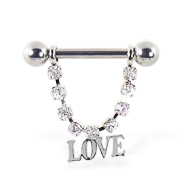 "Nipple ring with dangling jeweled chain and ""LOVE"", 12 ga or 14 ga"