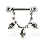 Nipple ring with dangling jeweled chain and skulls, 12 ga or 14 ga