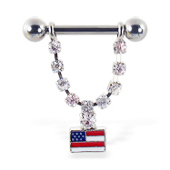Nipple ring with dangling jeweled chain and US flag, 12 ga or 14 ga