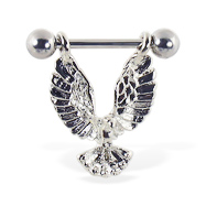 Nipple ring with dangling eagle, 14 ga
